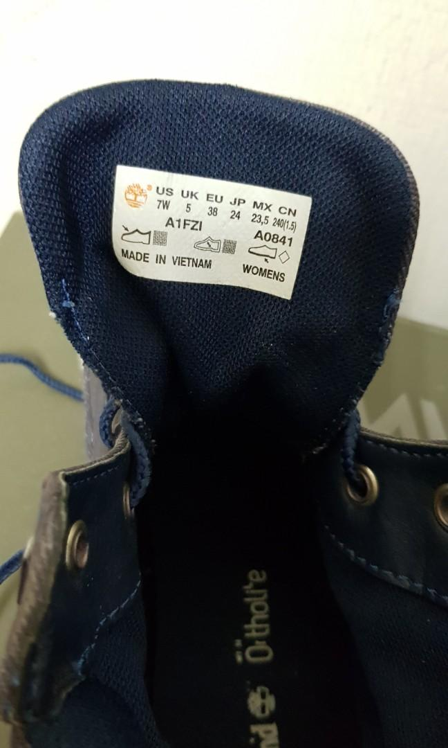 Timberland女款牛仔面料中筒休閒鞋/US 7