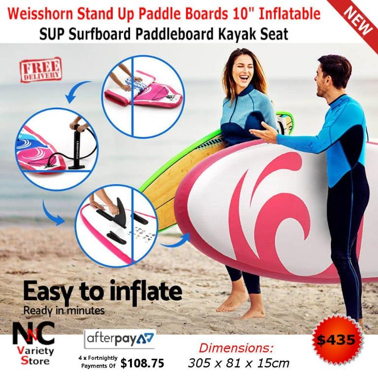 Weisshorn Stand Up Paddle Boards 10″ Inflatable SUP Surfboard Paddleboard Kayak Seat