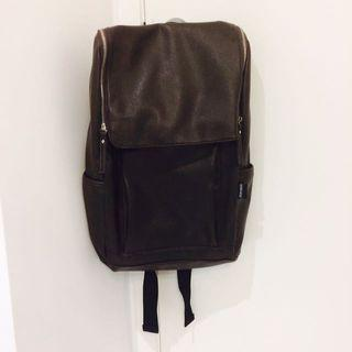 Large Faux Leather Backpack