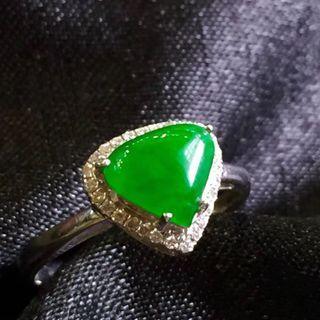 18K金豪鑲老坑翠綠翡翠戒指 保證天然緬甸A貨翡翠