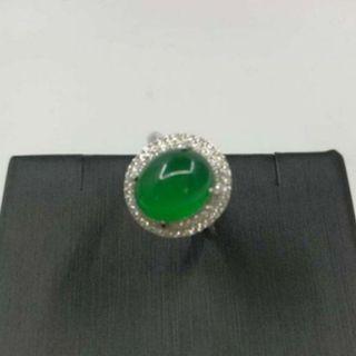 💖新品💖925銀冰種綠玉髓鑲鑽戒指
