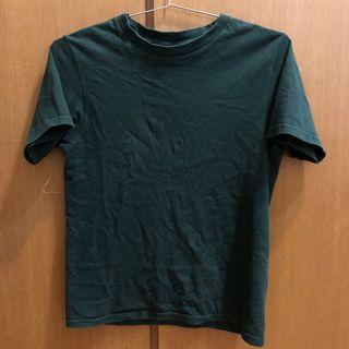 素T 圓領 短袖 t恤 T-shirt 上衣 墨綠色