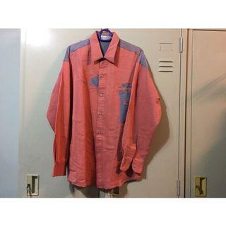 復古古著 粉紫長袖襯衫