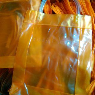 全新Old is New透明霧面塑膠手提袋包環保袋收納袋 橘色