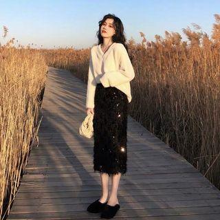 小香風兩件套 毛絨上衣+裙子
