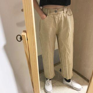 卡其伸縮腰直筒褲