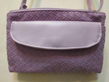 粉紫色編織側背包#換物