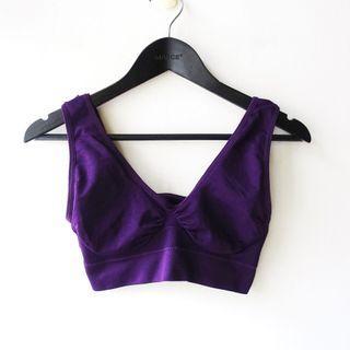 紫色素面萊卡彈性材質V領抓皺運動內搭單穿背心S號