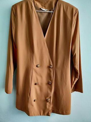 西裝外套 大地色 外套 雙排釦外套 長袖外套 秋冬 風衣