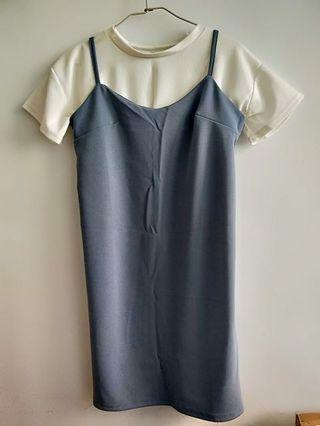 兩件式洋裝 水藍色洋裝 吊帶洋裝 春夏出清 洋裝 短袖上衣 #出清2019