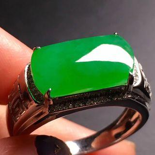 老坑陽綠馬鞍翡翠戒指 18K金真鑽