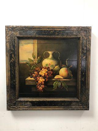 水果畫 附框木板畫 60x60cm