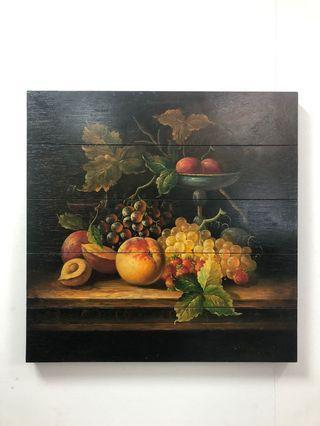 水果畫 無框木版畫 60x60cm