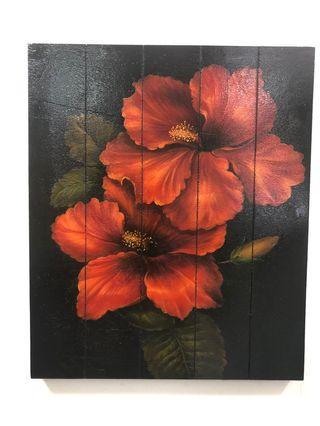扶桑花 無框木頭畫 60x50cm