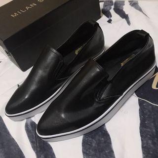 尖頭軟皮舒適平底鞋 樂福鞋