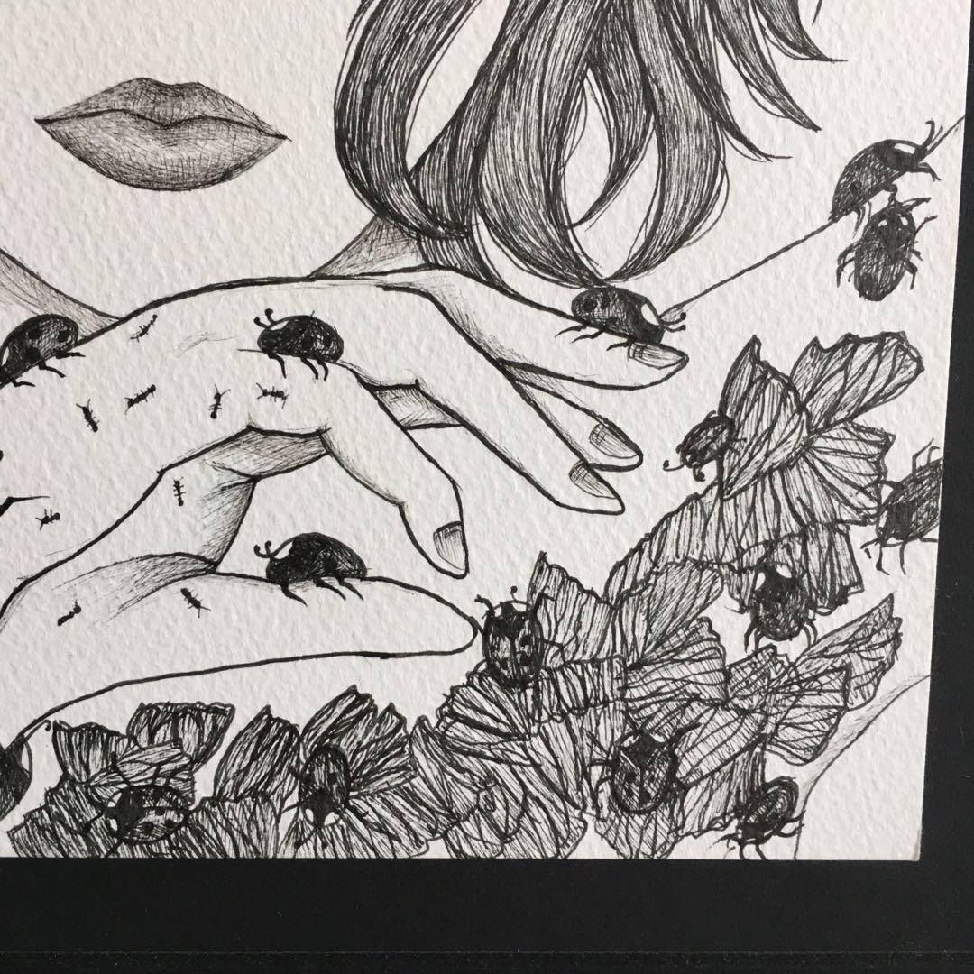 A4 Original Ink Pen Drawing Mounted On Black A3 Foamcore Sheet