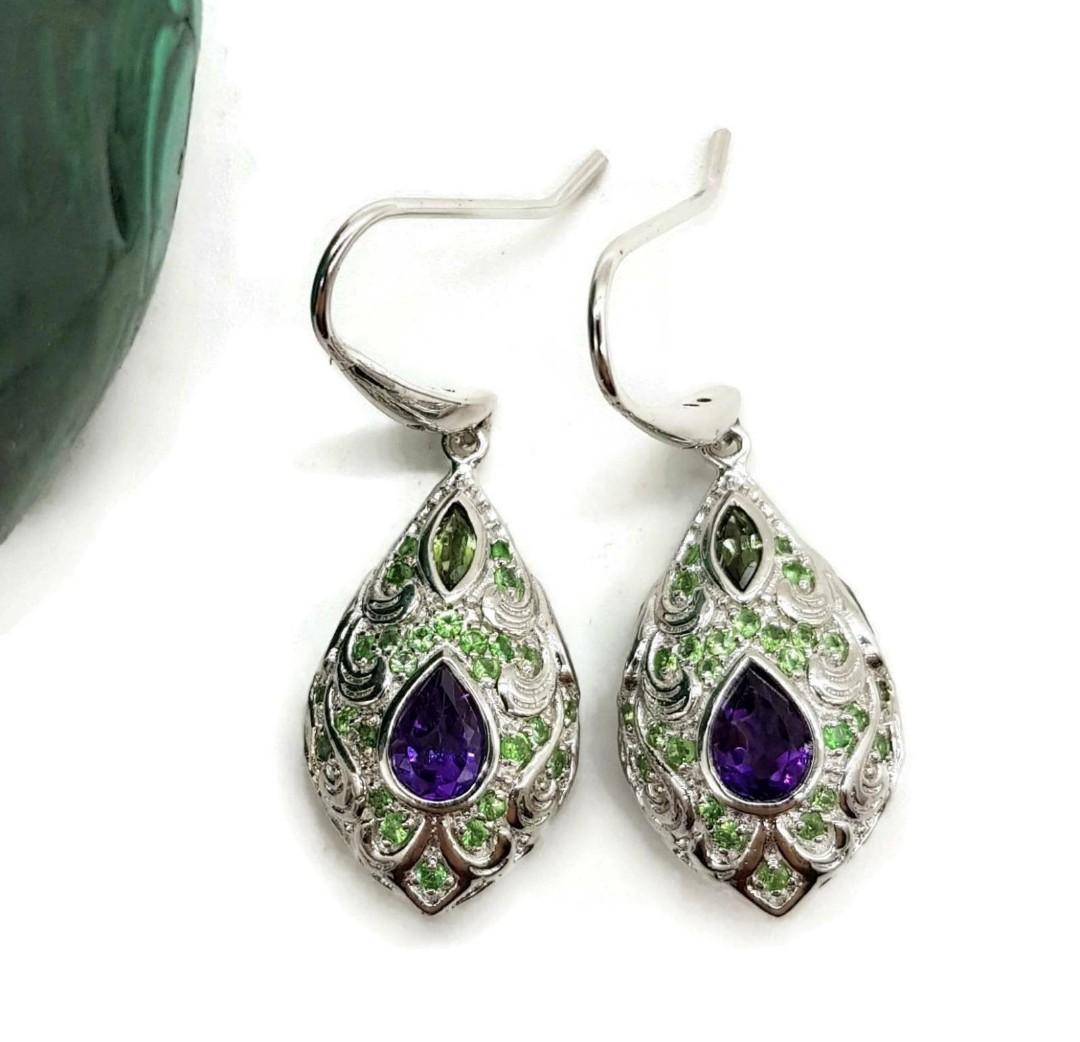 Amethyst, Tsavorite & Tourmaline Earrings, Faberge Egg Style, Peacock