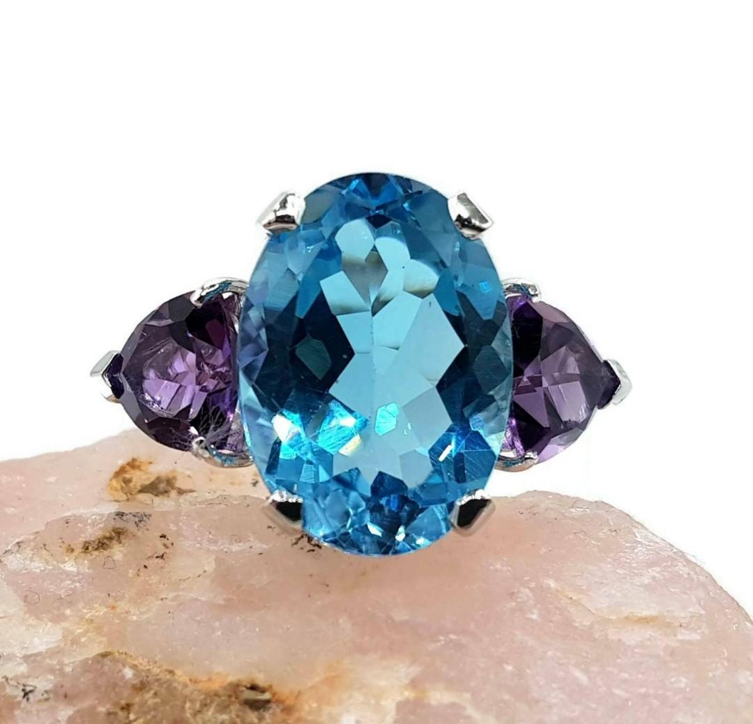 Blue Topaz & Amethyst Trilogy Ring, Size 8.75, 925 Sterling Silver