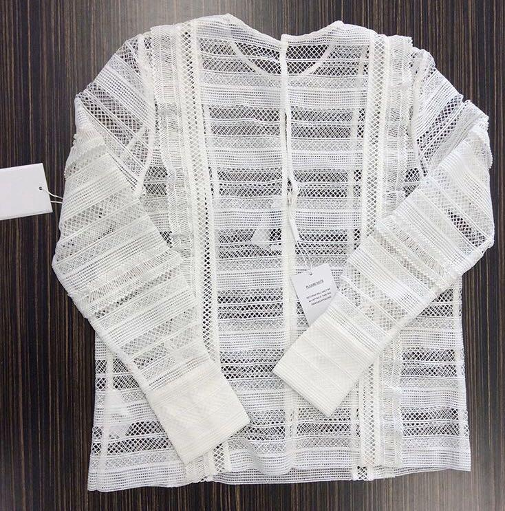BNWT Self portrait striped grid guipure lace/crochet  top