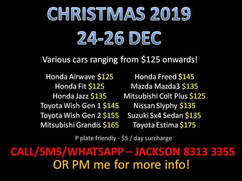 CAR RENTAL NO DEPOSIT CHRISTMAS PACKAGE 24-26 DEC *P Plate Friendly* (Sembawang)