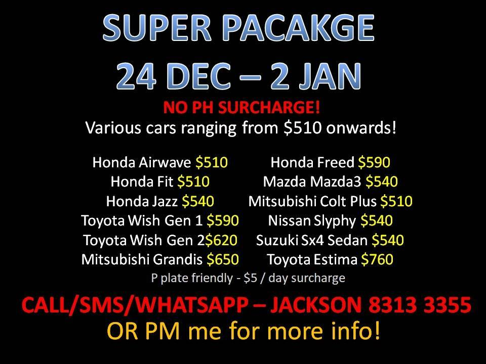 CAR RENTAL NO DEPOSIT SUPER PACKAGE 24DEC-2JAN *P PLATE WELCOME* (Sembawang)