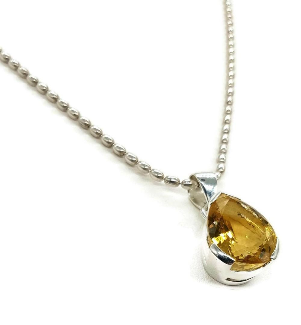 Citrine Pendant, 925 Sterling Silver, Pear Shaped, Wealth Stone, NEW