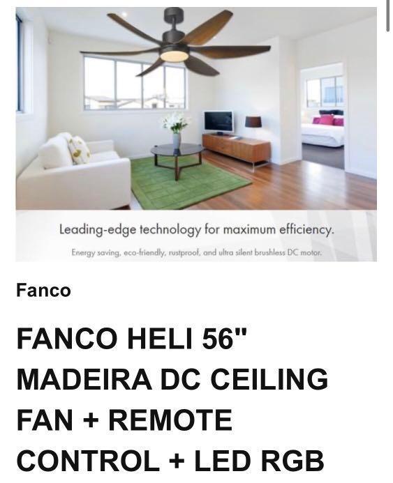"""FANCO HELI 56"""" MADEIRA DC CEILING FAN + REMOTE CONTROL + LED RGB"""