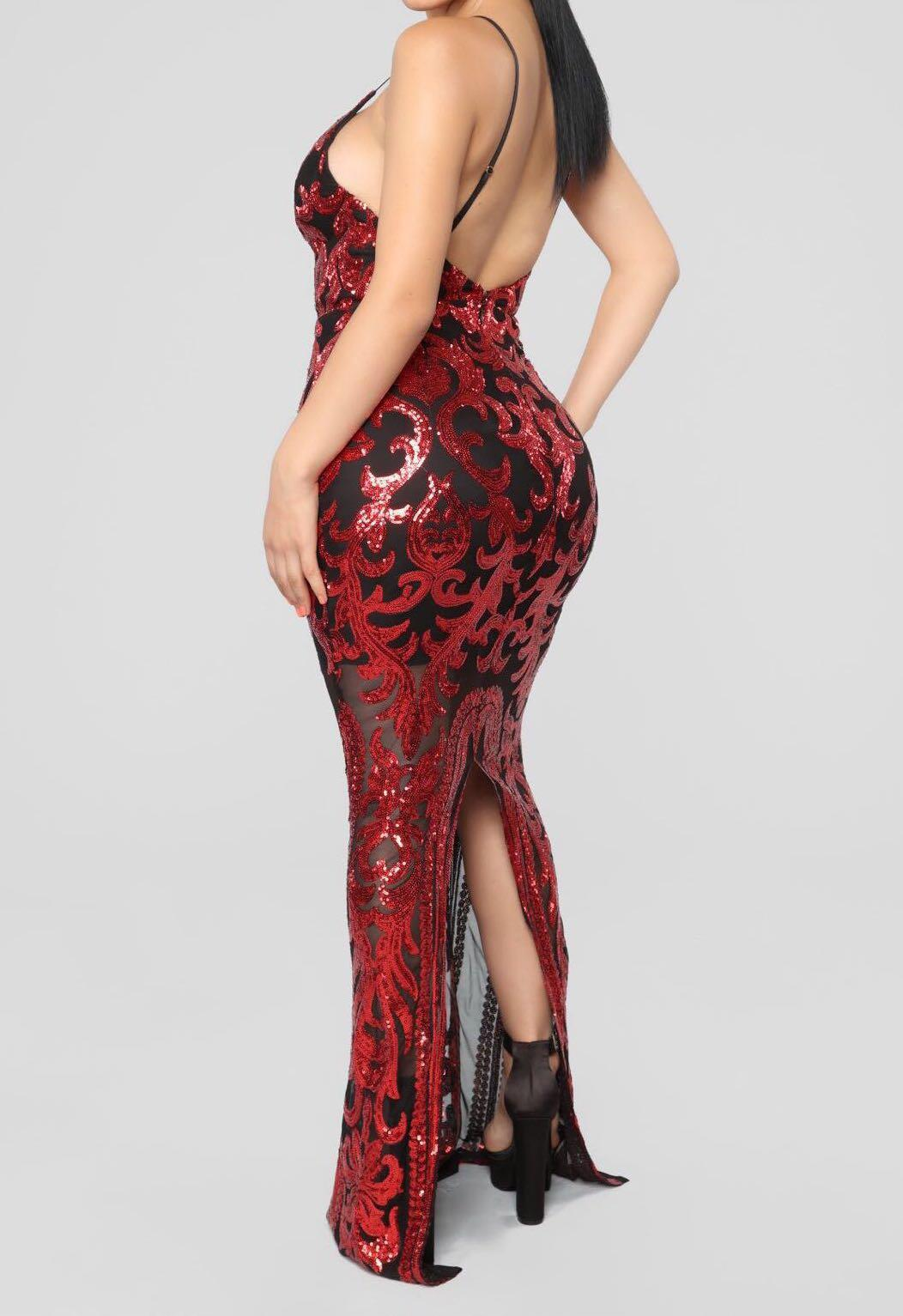 Fashion Nova Guest of Honor Sequin Formal Dress Red