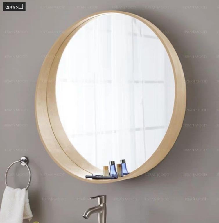 Harlet Solid Wood Round Wall Mirror Furniture Home Decor Others On Carousell