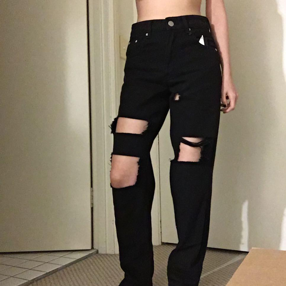 PLT Black Ripped Distressed  High Waisted Mom Bf Jeans
