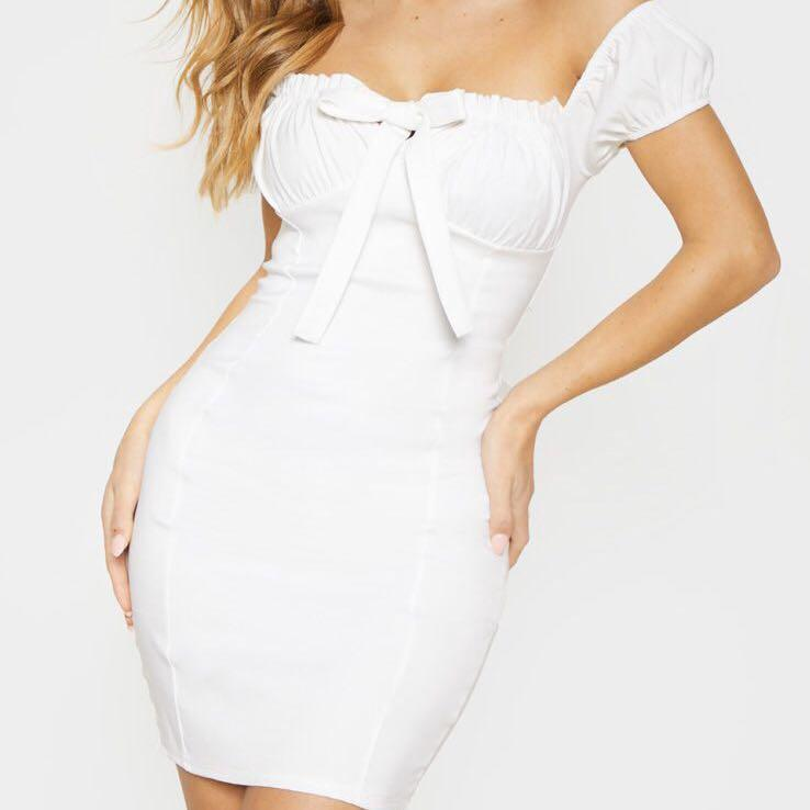 pretty little thing bardot white woven tie up front dress