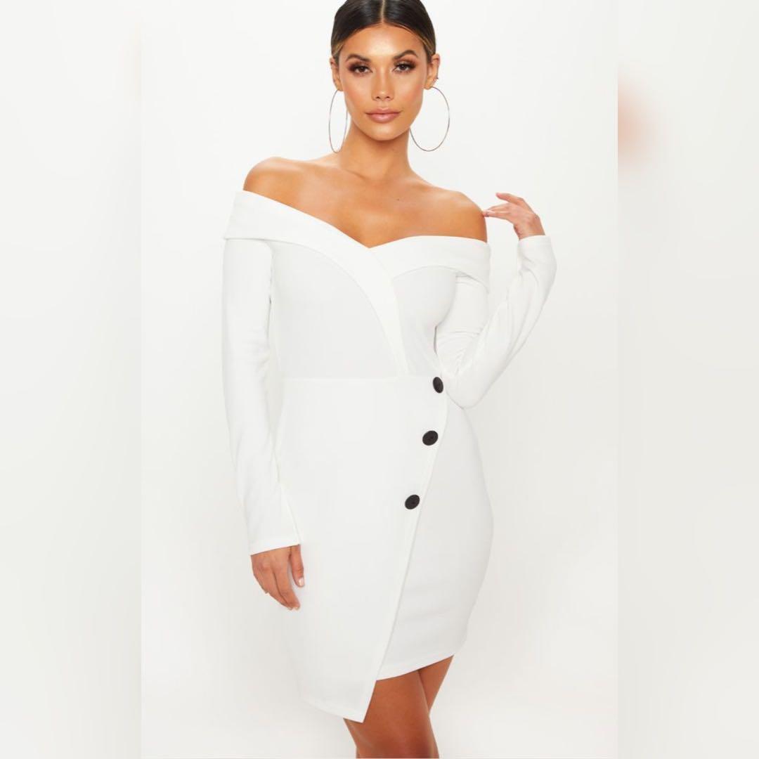 Pretty Little Thing White Bardot Contrast Button Blazer Dress