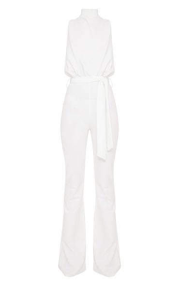 Pretty Little Thing White Scuba High Neck Tie Waist Jumpsuit