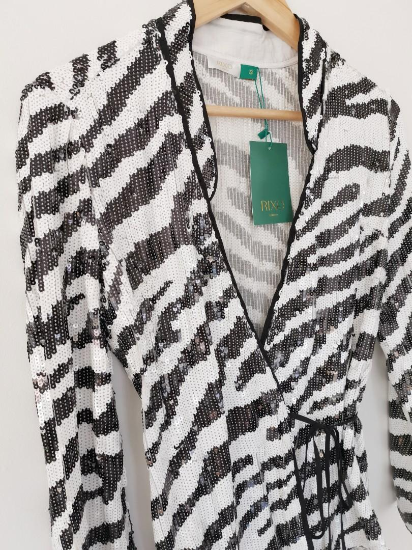 Rixo Blossom Wrap Top in Tiger Sequin Print - Size S BNWT RRP $500