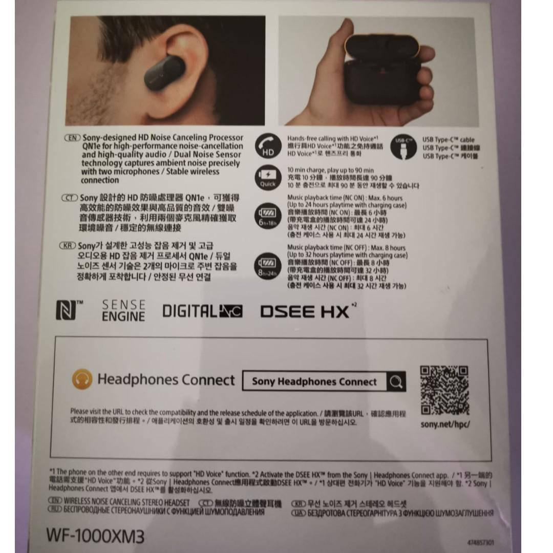 Sony WF-1000XM3 Brand New in Box - Latest Edition Earphones @ $270 - Now available (x1 black) - Purchase date 28 Nov 2019