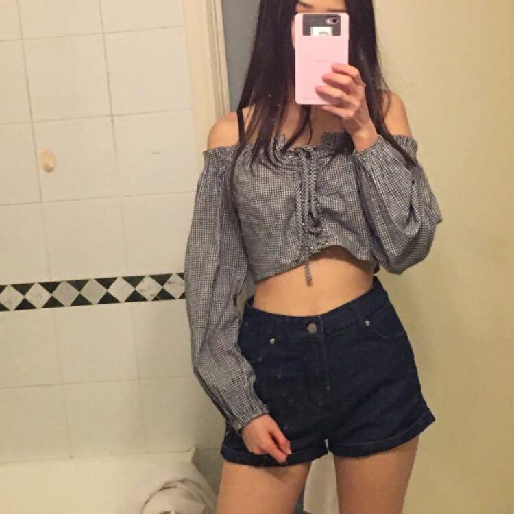 Supre Washed Dark Blue Size 8 High Waisted Denim Shorts