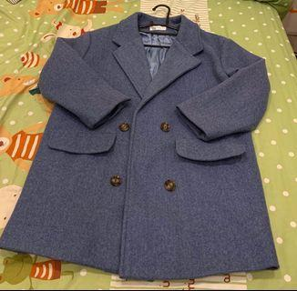 灰藍色大衣外套 穿過一次