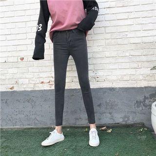 百搭鉛筆褲女褲高腰學生彈力緊身牛仔褲九分褲窄管褲