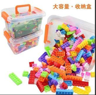 兒童益智顆粒積木250粒收納箱組