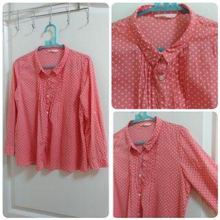 /【銅板專區】Net 粉紅點點寬版七分袖襯衫