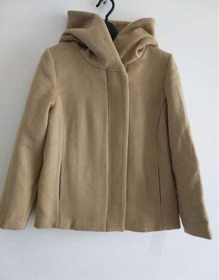 全新轉賣 專櫃品牌 日牌 ikka 素面拉鍊連帽羊毛外套 羊毛大衣 毛料外套 毛呢短版外套 駝色M