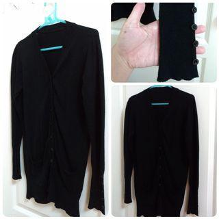 /【銅板專區】黑色長版針織外套