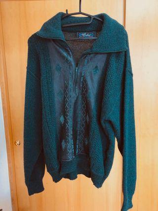 深綠色拉鍊領口古著毛衣 皮革拼接