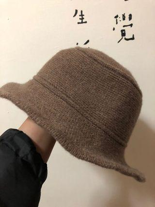 正韓奶茶色針織漁夫帽 帽圍可調