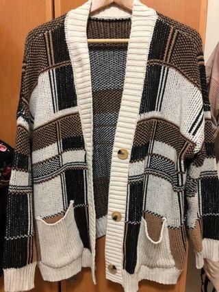 復古格紋針織外套+漁夫帽