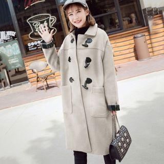 【韓國KW】學院風長版毛呢牛角扣大衣 杏色