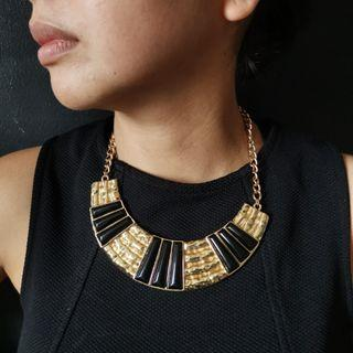 Gold and Black Deco Necklace