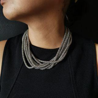 Silver layered chain necklacr