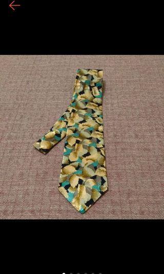 全新 SISLEY 金色印花 絲質領帶 寬版領帶 領帶 型男必備