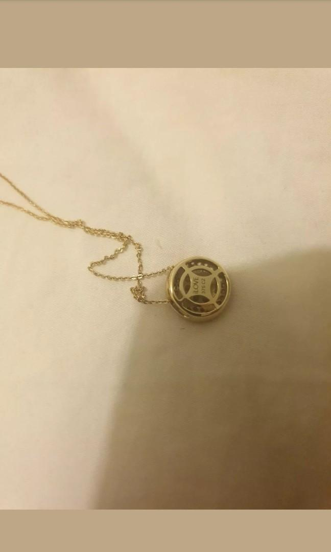 9ct Yellow Gold Coin Pendant with cz crystals & 9ct Yellow Gold Chain 45cm